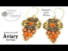 Aviary Earrings Design (DIY) - YouTube DiamonDuo & MiniDuo pattern, supplies from www.potomacbeads.com
