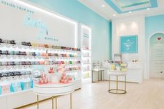 """Sugarfina is a Boy Meets Girl Boy takes girl on Third Date to Watch Willy Wonka and the Chocolate Factory An idea is born with a simple question """"Why should kids have all … Mermaid Tile, Bakery Decor, Candy Boutique, Store Design, Display Design, Cafe Design, Food Design, Display Ideas, Showroom Design"""