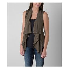Mystree Solid Vest (75 CAD) ❤ liked on Polyvore featuring outerwear, vests, green, green vest, mystree, brown vest, green waistcoat and knit vest