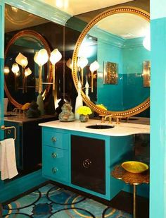 Powder Room By: Andrew Suvalsky Designs. The powder room boasts a circle motif and oversized lamps and mirrors. Kips Bay Showhouse, Interior And Exterior, Interior Design, Azul Tiffany, Beautiful Bathrooms, Decorating Blogs, My Dream Home, Decoration, Sweet Home