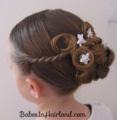 "Flower Girl Updos for Weddings | Now you should have a nice long ""tail"" hanging down on the left ..."