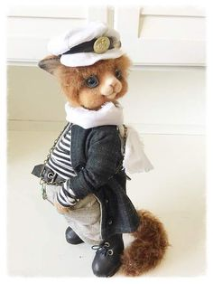 Skipper By Sadovska Tetiana - made of mohair. toned pastels. cat big and heavy.Clothes sewn from cotton fabric. leather shoes