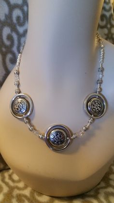 Silver and Black Medallion Necklace