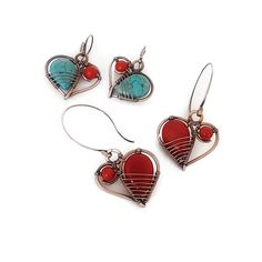 Red coral wire wrapped heart earrings - the perfect friendship gift. I made these red gemstone earrings entirely by hand, the copper ear wires are also handcrafted. For these wire earrings I used beautiful red jade drop and red coral gemstones The copper wire is antiqued and