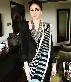 Contemporary twist to an ethnic look, so classy and chic // Kareena Kapoor Khan in dev r nil sari paired with Christian Lacroix vintage jacket Anarkali, Churidar, Lehenga, Sharara, Saree Draping Styles, Saree Styles, Kareena Kapoor Khan, Indian Attire, Indian Ethnic Wear