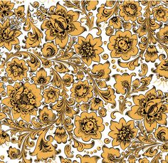 Folk Khokhloma painting from Russia. A floral pattern in white, black and golden…