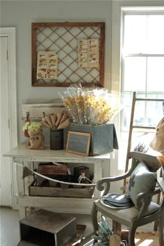 This inspiration board is cool.  I could also make one from an old window I've been hanging on to.