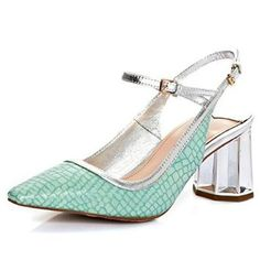 Nine Seven Genuine Leather Womens Pointy Toe Ankle-strap Chunky Heel Animal-print Handmade Sandal