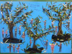"""ομαδικη εργασια με αληθινα φυλλα ελιας, ελιες και φωτογραφιες των παιδιων που αποτυπώνει το μαζεμα της ελιας. ονομασια πινακα (απο τα παιδια): το καλαθι με τις ελιες. θ.ε. """"η ελια"""""""