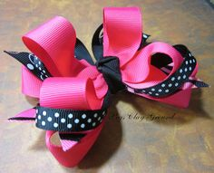 Hot Pink Black Zebra Hair Bow by PegsClayGround on Etsy, $6.00