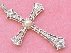 ANTIQUE ART DECO .84ctw OLD MINE DIAMOND 5mm PEARL PLATINUM CROSS PENDANT 1930 #Unbranded #CROSSPENDANT