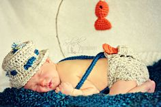 Baby Fisherman Photo Prop Outfit and Blue Blanket by KirstsKorner