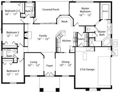House Plan 63365 - One-Story Style with 2140 Sq Ft Sims 4 House Plans, New House Plans, Dream House Plans, Small House Plans, House Floor Plans, Mediterranean House Plans, Mediterranean Design, Florida House Plans, Florida Houses
