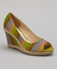 Look what I found on #zulily! Green & Yellow Stripe Peep-Toe Espadrille by Glamour Footwear #zulilyfinds