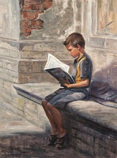 Waiting for the schoolbus Daydreamer Love story Irina Kirienko Milton born in Lviv, Ukraine living in USA more: Canv. Reading Art, I Love Reading, Kids Reading, Reading Room, Happy Reading, People Reading, Book People, I Love Books, Good Books