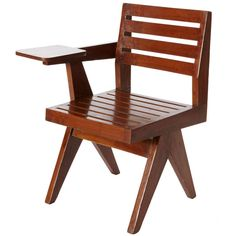 For Sale on - Single arm chair in Teak, slatted back and seat Pierre Jeanneret, Wood Furniture, Furniture Design, Outdoor Furniture, Sofa Chair, Armchair, Perriand, Outdoor Chairs, Outdoor Decor