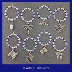 Hanukkah Wine Charms  Set of 4 or 8 by WineGlassGems on Etsy, $18.00