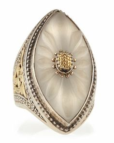 Flower Carved Frosted Crystal Marquis Ring, Size 7 by Konstantino at Neiman Marcus Last Call.