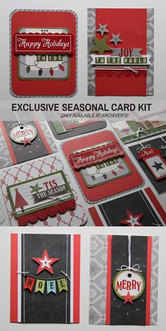 Exclusive Seasonal card kit, only available at Archiver's! Get supplies to make 14 festive cards. Available at www.archiversonline.comhttp://www.archiversannex.com/p/112150/exclusive-seasonal-card-kit-by-echo-park