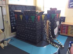 Castle and Moat Year 1 Classroom Castle Classroom, Year 1 Classroom, Classroom Ideas, Dramatic Play Area, Dramatic Play Centers, School Displays, Classroom Displays, Knights And Castles Topic, Fairy Land