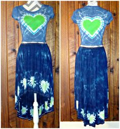 Medium 2 Pc High Low Skirt & Cropped Mini Tee Heart Hand Tie Dyed Set Rayon  #UKissJK #HighLow #Casual #Dress #Blue #TieDye #JoiNT #JawDroppingNifty3 #JawDropping #cropped #minitee #heart