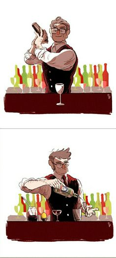 """- Stan and Ford: """"What will you want?""""  - Me: The bartenders... and a Martini please!"""