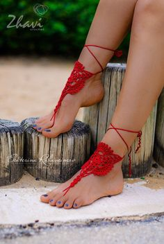 Red Crochet Barefoot Sandals, Foot Jewelry, Red Wedding, Spring Wedding, Beach Wedding shoes, Yoga Anklet, Leg Accessories, Sexy leg by ZHAVI on Etsy https://www.etsy.com/listing/221732613/red-crochet-barefoot-sandals-foot