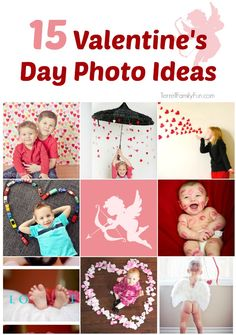 A grouping of 15 do it yourself valentine's day photo ideas that are easy to do at home, last minute the week of valentine's day!