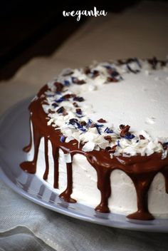 Prosty tort czekoladowo kokosowy Polish Recipes, Polish Food, Vegan Cake, Vegan Sweets, Diy And Crafts, Deserts, Dessert Recipes, Food And Drink, Pudding