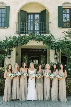 Bridesmaids in Glittering Metallic Adrianna Papell Dresses | Matt Edge Wedding Photography | French Inspired Wedding at a Wine Country Chateau