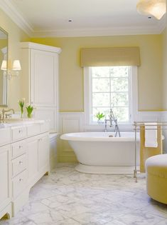 Traditional Bathroom Design Ideas, Pictures, Remodel and Decor Benjamin Moore Yellow, Benjamin Moore Paint, Yellow Bathroom Decor, Yellow Bathrooms, White Bathroom, Bathroom Ideas, Bathroom Wall, Wall Colors, Sweet Home
