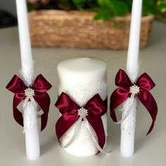 Burgundy and White Unity Candle Set ♥️ Beach Wedding Centerpieces, Wedding Unity Candles, Red Candles, Pillar Candles, Burgundy Wedding, Red Wedding, Ring Pillow Wedding, Flower Girl Basket, Diy Bow