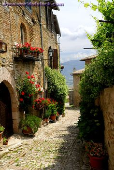 Stock Photo titled: View Of Clitumnus Valley From Narrow Cobblestone Alleyway In Montefalco, unlicensed use prohibited