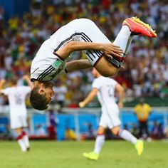 Miroslav Klose flips out after scoring against Ghana - Miroslav Klose of Germany does a flip in celebration of scoring his team's second goal during the 2014 FIFA World Cup Brazil Group G match between Germany and Ghana at Castelao on June 21, 2014 in Fortaleza, Brazil.
