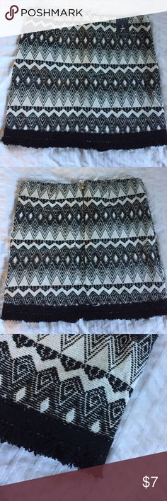 Primary Black & White Skirt Fitted skirt from Primark Atmosphere in an on-trend black and white pattern. Subtle tassel detailing around the hem. Brand new, never worn. Primark Skirts Pencil