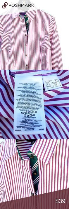 Brooks Brothers Maroon White Button Down Cute green along the inside of the buttons Pit to pit 18 in Length 26 in (middle) 23 in (side) Excellent condition  Feel free to ask me any additional questions! No trades, or modeling. Happy Poshing! Brooks Brothers Tops Button Down Shirts