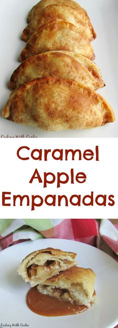 Apple and Cajeta Empanadas A warm flaky crust with a caramel apple filling is what dreams are made of! These caramel apple empanadas finger licking good! Easy Desserts, Delicious Desserts, Yummy Food, Apple Desserts, Apple Recipes, Baking Recipes, Ark Recipes, Freezer Recipes, Turkey Recipes