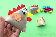 Toilet Paper Roll Chicken Box. DIY Chicken Treat Box. How to make a Chick Treat Box. Easy Pyramid Chicken DIY. How to make an Easter Treat box. TP Roll Pyramid box. Recycled treat box. Easy gift box crafts. Easter gift box. Classroom Gift Ideas for Easter.