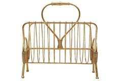 "16"" Metal Magazine Rack, Gold"