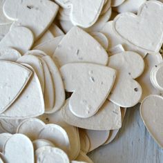 Cream Heart Wildflower Seed Paper Confetti, Bulk 350 Pieces, Flat Rate Shipping by WrapAndRevel on Etsy https://www.etsy.com/listing/188652052/cream-heart-wildflower-seed-paper