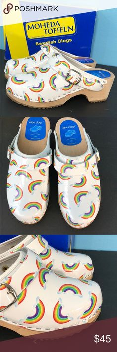 Cape Clogs  Rainbow Leather Swedish Clog Cape Clog Moheda Toffeln Swedish Clog. Rainbow colors on white leather size 35. New. Classic wood sole with rubber gripping. Cape Clog Shoes Mules & Clogs