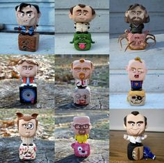 Artist: Sir Create, originally posted on Reddit   the characters are Ash from Army of Darkness, Peter Venckman from Ghostbusters, MacReady from The Thing, Marty McFly from Back to the Future, Shaun from Shaun of the Dead, Sloth from Goonies, Barf from Spaceballs, Walter White from Breaking Bad and GOB from Arrested Development.