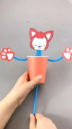 Funny Fox Ahri-How to Make Fox with Disposable Paper Cup-DIY Tutorial Fun piece & gift for kids. This is a simple DIY tutorial of paper Fox Ahri. Stuck at home? Let's get started! # BTrun #VideoGameAesthetic Paper Cup Crafts, Paper Crafts For Kids, Cardboard Crafts, Paper Crafting, Diy For Kids, Space Crafts, Diy Paper, Paper Cups, Toddler Learning Activities