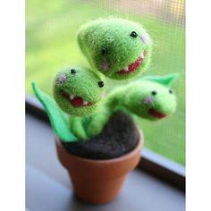 Необычные способности Венериной мухоловки способствуют одушевлению этого растения в творчестве и искусстве. Как правило её делают монстром но бывают и исключенияВсё же они очень милые правда? Совсем скоро цветочки нужно будет отправлять в зимнюю спячку. Не пропустите уникальную возможность поэкспериментировать и успейте купить растение чтобы оно успело адаптироваться в вашем доме! Любой цветочек - всего650рублей. В наличии мухоловки саррацении непентесы жирянки и росянки!  Needle felted…