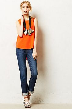 AG Stevie Slim Straight Jeans - anthropologie.com // Cute jeans (and love the bright pop of orange!)