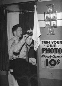 Teen boys getting ready for their dates, '52.