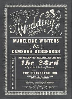 Chalkboard wedding invitation. Love this trend.