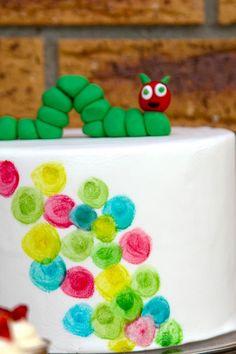 The Very Hungry Caterpillar Party Cake! Such Cute Ideas via Kara's Party Ideas | KarasPartyIdeas.com