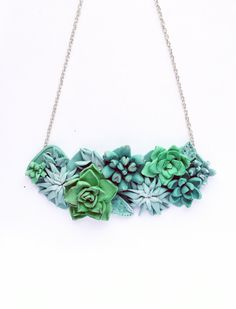 Succulent necklace, Flower Necklace, Cacti, Cactus, Green, Floral Bib Necklace, Succulent Jewelry, Polymer clay necklace, trending now by BrightBlooming on Etsy https://www.etsy.com/listing/275267442/succulent-necklace-flower-necklace-cacti