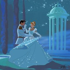 Cinderella And Prince Charming Sharing A Romantic Dance In The Sparkling Stars
